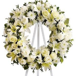 White Rose Funeral Wreath